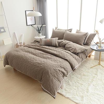 全棉双层纱功能型四件套 标准床单款四件套(1.5m-1.8m床) 浅咖