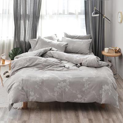 全棉色织水洗提花系列 标准床单四件套(1.5-1.8M) 雅韵花香-浅灰