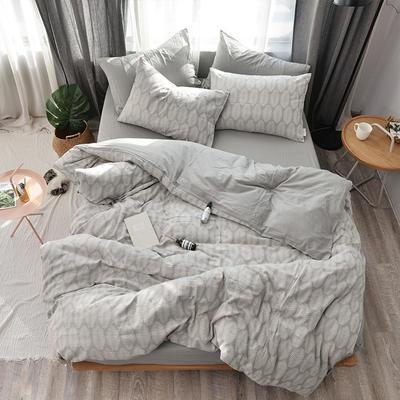 全棉色织水洗提花系列 标准床单四件套(1.5-1.8M) 左岸风情-浅灰