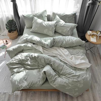 全棉色织水洗提花系列 标准床单四件套(1.5-1.8M) 欣雅-豆绿