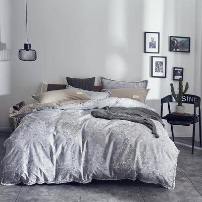 全棉水洗棉流苏款 1.8m(6英尺)床 水墨