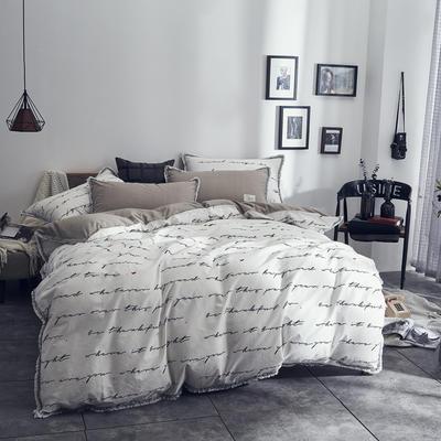 全棉水洗棉流苏款 1.8m(6英尺)床 字母