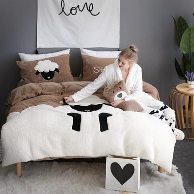 法兰绒绣花四件套加厚保暖宝宝绒贴布绣法莱绒水晶绒床单款 1.8m(6英尺)床 小羊肖恩-咖