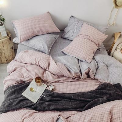 2018秋冬新品 日式风全棉水洗棉系列 床单款 1.2m(4英尺)床 伊格-粉