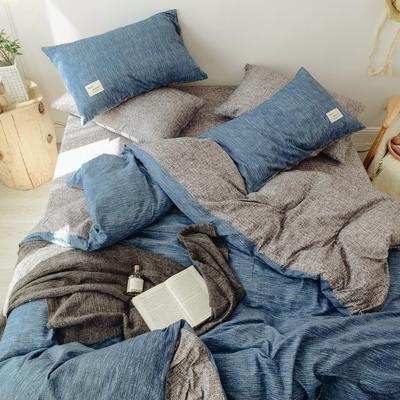 2018秋冬新品 日式风全棉水洗棉系列 床单款 1.2m(4英尺)床 蓝调
