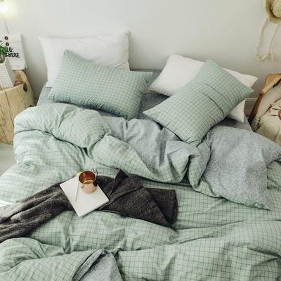 2018秋冬新品 日式风全棉水洗棉系列 床单款 2.0m(6.6英尺)床 伊格-绿