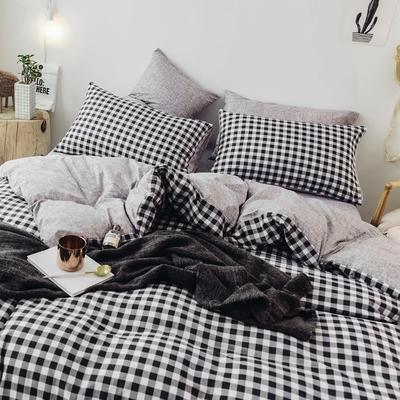 2018秋冬新品 日式风全棉水洗棉系列 床单款 1.8床笠 蜜格-黑