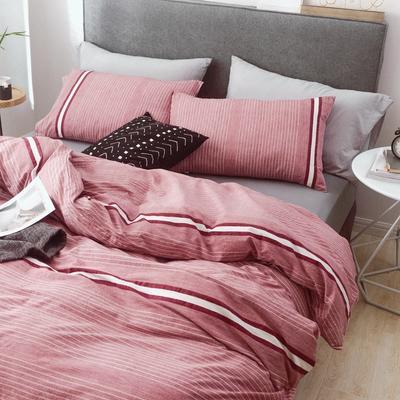 (总)2019春夏新品 简约全棉水洗棉系列 1.2m(4英尺)床 摩卡-红