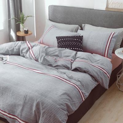 (总)2019春夏新品 简约全棉水洗棉系列 1.2m(4英尺)床 摩卡-灰