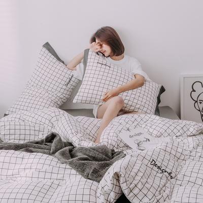2019新款-创意家居生活系列四件套 1.8m(6英尺)床 洛克-白