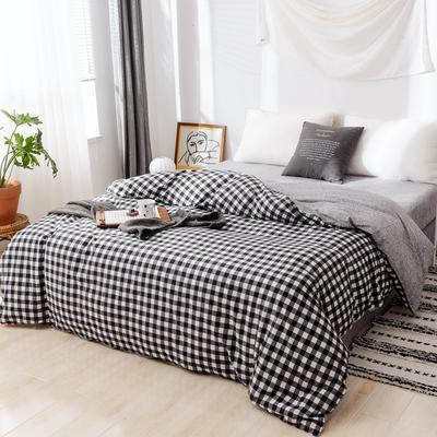 2019新款-全棉日式水洗棉系列(单被套) 150x200cm 密格-黑