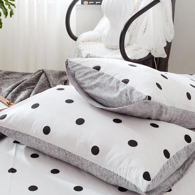 2019新款-全棉日式水洗棉系列 (单枕套) 48cmX74cm/一对 波点-白
