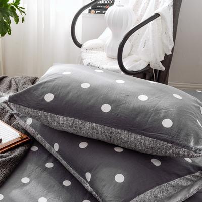 2019新款-全棉日式水洗棉系列 (单枕套) 48cmX74cm/一对 波点-灰
