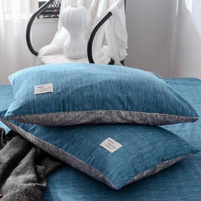2019新款-全棉日式水洗棉系列 (单枕套) 48cmX74cm/一对 蓝调