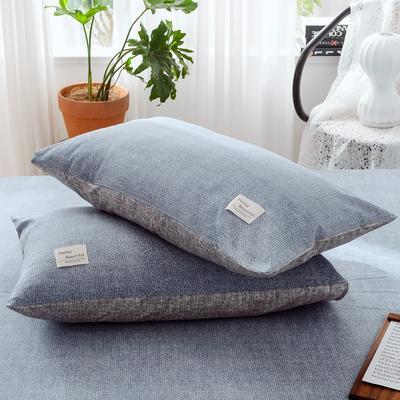 2019新款-全棉日式水洗棉系列 (单枕套) 48cmX74cm/一对 蓝雪