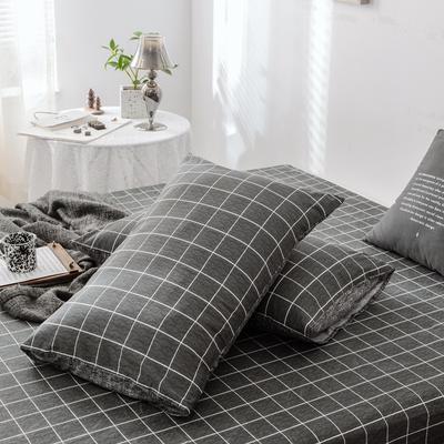 2019新款-全棉日式水洗棉系列 (单枕套) 48cmX74cm/一对 迷森