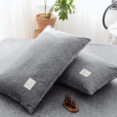 2019新款-全棉日式水洗棉系列 (单枕套) 48cmX74cm/一对 诺威