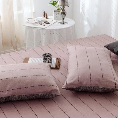 2019新款-全棉日式水洗棉系列 (单枕套) 48cmX74cm/一对 浅影-豆沙