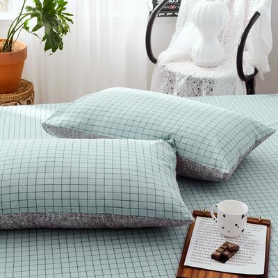 2019新款-全棉日式水洗棉系列 (单枕套) 48cmX74cm/一对 伊格-蓝
