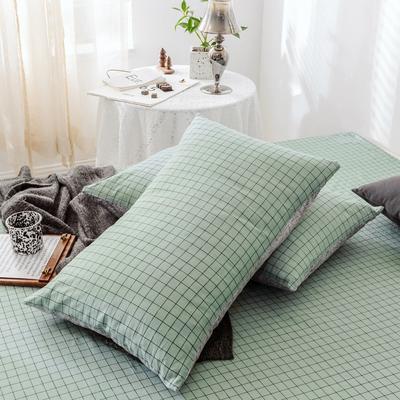 2019新款-全棉日式水洗棉系列 (单枕套) 48cmX74cm/一对 伊格-绿