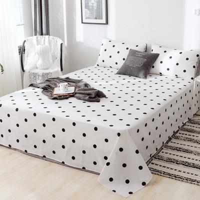 2019新款-日式风全棉水洗棉 单床单+枕套(三件套) 学生宿舍床120cmx230cm 波点-白