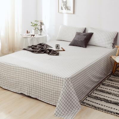 2019新款-日式风全棉水洗棉 单床单+枕套(三件套) 学生宿舍床120cmx230cm 多拉
