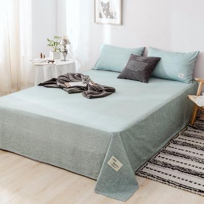 2019新款-日式风全棉水洗棉 单床单+枕套(三件套) 学生宿舍床120cmx230cm 弗杰