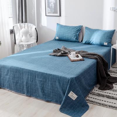 2019新款-日式风全棉水洗棉 单床单+枕套(三件套) 学生宿舍床120cmx230cm 蓝调