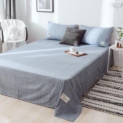 2019新款-日式风全棉水洗棉 单床单+枕套(三件套) 学生宿舍床120cmx230cm 蓝雪