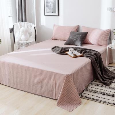 2019新款-日式风全棉水洗棉 单床单+枕套(三件套) 学生宿舍床120cmx230cm 伊格-粉