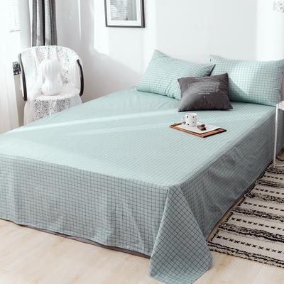 2019新款-日式风全棉水洗棉 单床单+枕套(三件套) 学生宿舍床120cmx230cm 伊格-蓝