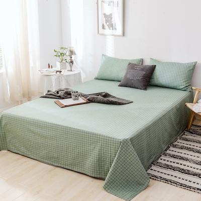 2019新款-日式风全棉水洗棉 单床单+枕套(三件套) 学生宿舍床120cmx230cm 伊格-绿