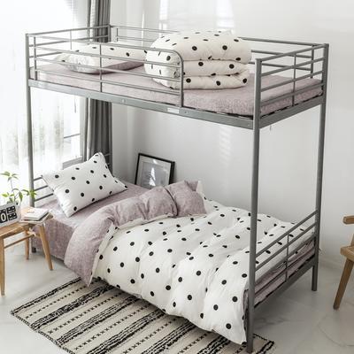 2019新款-全棉水洗棉(学生宿舍)三件套 0.9M床 套件三件套 波点-白