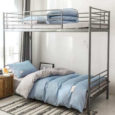 2019新款-全棉水洗棉(学生宿舍)三件套 0.9M床 套件三件套 蓝雪