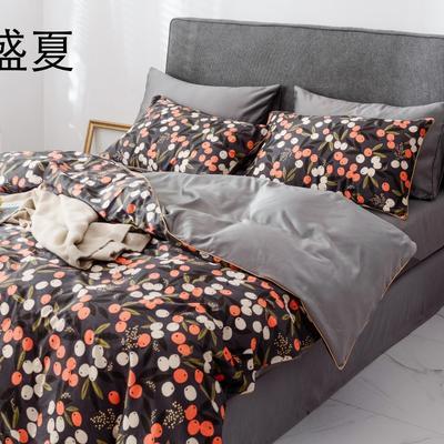 2019新款-全棉60S臻柔棉(滚边系列)四件套 床单款三件套1.2m(4英尺)床 盛夏