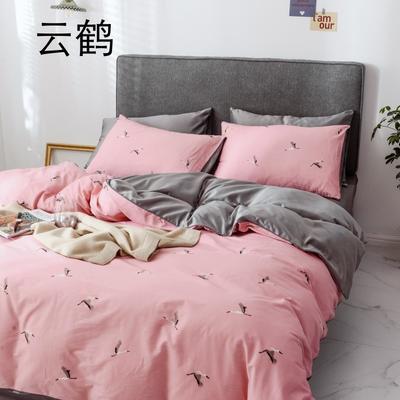 2019新款-全棉60S臻柔棉(滚边系列)四件套 床单款三件套1.2m(4英尺)床 云鹤