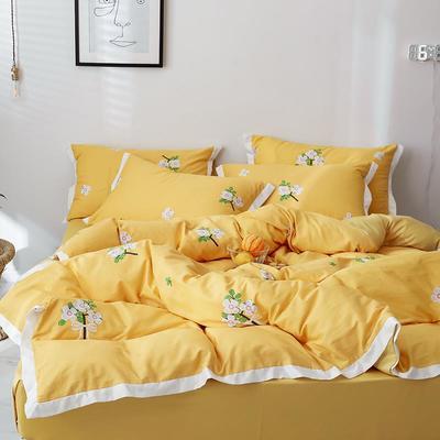 2019新款-全棉60S臻柔棉(宽边款)四件套 床单款三件套1.2m(4英尺)床 小雏菊