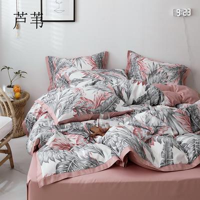 2019新款-全棉60S臻柔棉(宽边款)四件套 床单款四件套1.8m(6英尺)床 芦苇