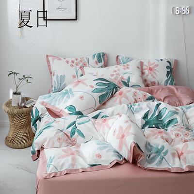 2019新款-全棉60S臻柔棉(宽边款)四件套 床单款四件套1.8m(6英尺)床 夏日