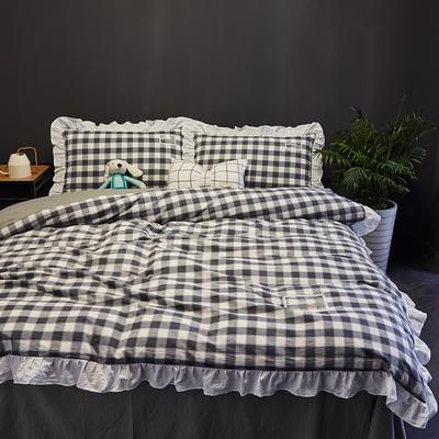 2019新款-全棉水洗棉公主风仙女款四件套 床单款三件套1.2m(4英尺)床 布拉格-灰