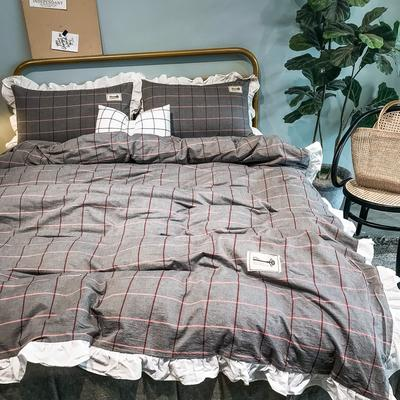 2019新款-全棉水洗棉公主风仙女款四件套 床单款四件套1.5m(5英尺)床 布拉格-咖