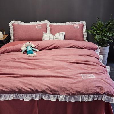 2019新款-全棉水洗棉公主风仙女款四件套 床单款四件套1.5m(5英尺)床 牛仔红