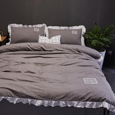 2019新款-全棉水洗棉公主风仙女款四件套 床单款三件套1.2m(4英尺)床 牛仔灰