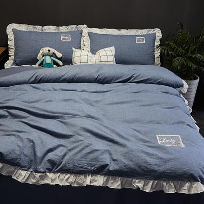 2019新款-全棉水洗棉公主风仙女款四件套 床单款三件套1.2m(4英尺)床 牛仔蓝