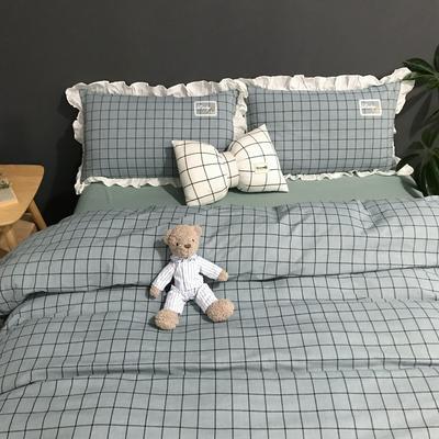 2019新款-全棉水洗棉公主风仙女款四件套 床单款三件套1.2m(4英尺)床 淑女格-蓝