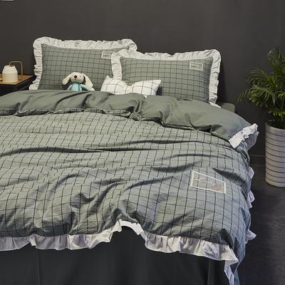 2019新款-全棉水洗棉公主风仙女款四件套 床单款三件套1.2m(4英尺)床 淑女格-绿