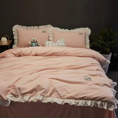 2019新款-全棉水洗棉公主风仙女款四件套 床单款三件套1.2m(4英尺)床 条纹粉