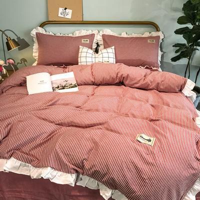 2019新款-全棉水洗棉公主风仙女款四件套 床单款三件套1.2m(4英尺)床 条纹红