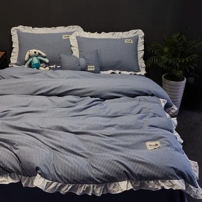 2019新款-全棉水洗棉公主风仙女款四件套 床单款三件套1.2m(4英尺)床 条纹蓝