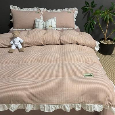 2019新款-全棉水洗棉公主风仙女款四件套 床单款三件套1.2m(4英尺)床 条纹藕粉